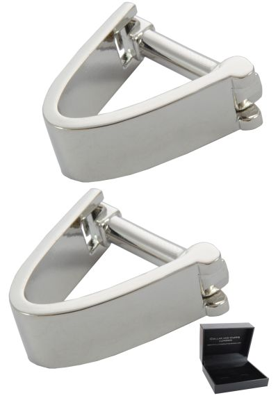 PREMIUM Cufflinks WITH PRESENTATION GIFT BOX - High Quality - Wrap Around V Style Smooth Iconic Design - Edge of Cuff - Silver Colour