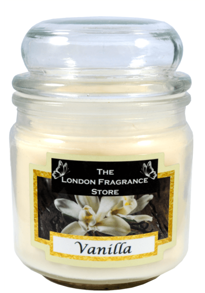 THE LONDON FRAGRANCE STORE - Luxury Scented Candle - Natural Soy Wax - Premium Quality Fragrance Oil - Medium Glass Jar - Vanilla - Up to 75 Hours - Our Clever Wax Formula Lasts Longer - Cotton Wick