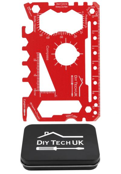 DIY TECH UK - 48 in 1 Wallet Multi Tool - Credit Card Size - EXTRA STRONG High Carbon Stainless Steel - Screwdrivers, Bottle Opener, Tin Opener, Compass - Pocket Multi Tool - With Gift Tin and Pouch