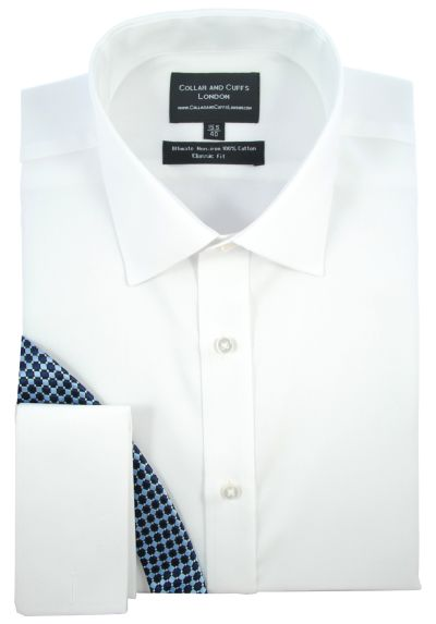 ULTIMATE NON-IRON - Luxury 100% Cotton - Fit Guaranteed - Twill Fabric - Men's Shirt - Long Sleeve - White - Classic Fit, Double Cuff - Plain Pattern
