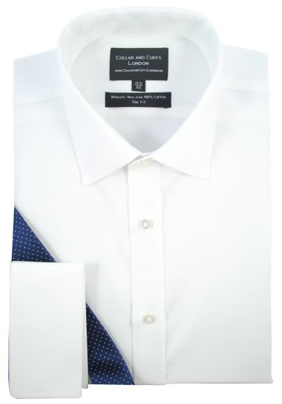 ULTIMATE NON-IRON - Luxury 100% Cotton - Fit Guaranteed - Twill Fabric - Men's Shirt - Long Sleeve - White - Slim Fit, Double Cuff - Plain Pattern