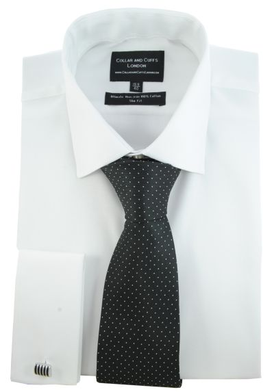 SHIRT AND TIE SET - Ultimate Non-Iron - Luxury 100% Cotton - Fit Guaranteed - Twill Fabric - Men's Shirt - Long Sleeve - White - Slim Fit, Double Cuff - Plain - WSA