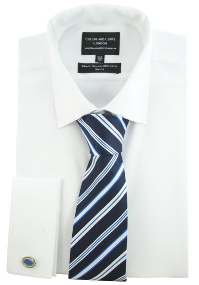 SHIRT AND TIE SET - Ultimate Non-Iron - Luxury 100% Cotton - Fit Guaranteed - Twill Fabric - Men's Shirt - Long Sleeve - White - Slim Fit, Double Cuff - Plain - WSH
