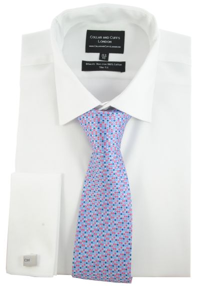 SHIRT AND TIE SET - Ultimate Non-Iron - Luxury 100% Cotton - Fit Guaranteed - Twill Fabric - Men's Shirt - Long Sleeve - White - Slim Fit, Double Cuff - Plain - WSK