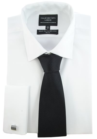 SHIRT, TIE AND CUFFLINK SET - Ultimate Non-Iron - Luxury 100% Cotton - Fit Guaranteed - Twill Fabric - Men's Shirt - Long Sleeve - White - Slim Fit, Double Cuff - Plain - WSJ