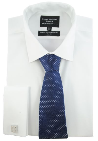 SHIRT AND TIE SET - Ultimate Non-Iron - Luxury 100% Cotton - Fit Guaranteed - Twill Fabric - Men's Shirt - Long Sleeve - White - Slim Fit, Double Cuff - Plain - WSL