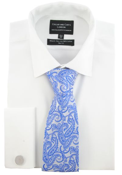 SHIRT AND TIE SET - Ultimate Non-Iron - Luxury 100% Cotton - Fit Guaranteed - Twill Fabric - Men's Shirt - Long Sleeve - White - Slim Fit, Double Cuff - Plain - WSN