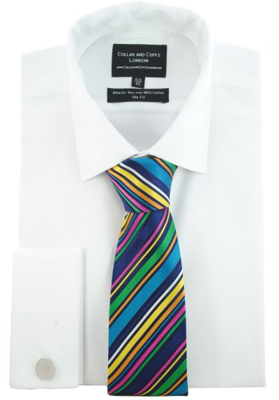 SHIRT AND TIE SET - Ultimate Non-Iron - Luxury 100% Cotton - Fit Guaranteed - Twill Fabric - Men's Shirt - Long Sleeve - White - Slim Fit, Double Cuff - Plain - WSM