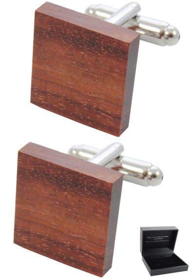 PREMIUM Cufflinks WITH PRESENTATION GIFT BOX - High Quality - Wooden Square Tile - Carpenter DIY Wood - Classic Elegance - Brown Colour