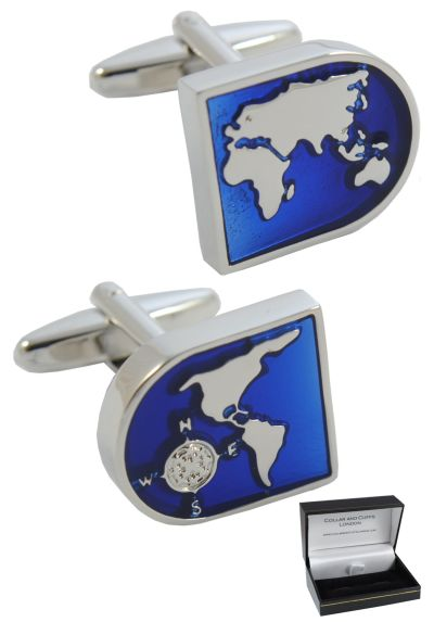 PREMIUM Cufflinks WITH PRESENTATION GIFT BOX - High Quality - World Map - Brass - Blue and Silver Coloured Earth Face - Travel The Globe - Silver Coloured Exterior