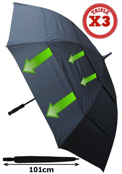 XL 60MPH - 152cm Arc TRIPLE CANOPY - Windproof Golf Umbrella - EXTRA STRONG - Reinforced Frame With Fiberglass - Vented Canopy Regulates Gusts - Automatic Umbrella - Black Men's Umbrella