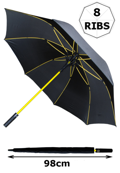 60mph Windproof Extra Strong - StormFighter Jumbo Umbrella - Yellow Reinforced Fiberglass Frame - For 1 or 2 Persons - Auto Open - Non Slip Handle - Black